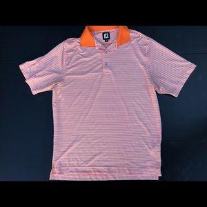 BRIGHT Footjoy Orange/White LOGO Polo Golf Shirt
